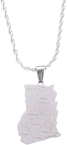 NC190 Collar de Acero Inoxidable Mapa de Ghana Collares Pendientes Cadena de Mapa de Ghana Joyería para Mujeres