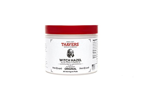 Thayers Original Witch Hazel Astringent Pads with Aloe Vera Formula, 60 Count (Pack of 2)