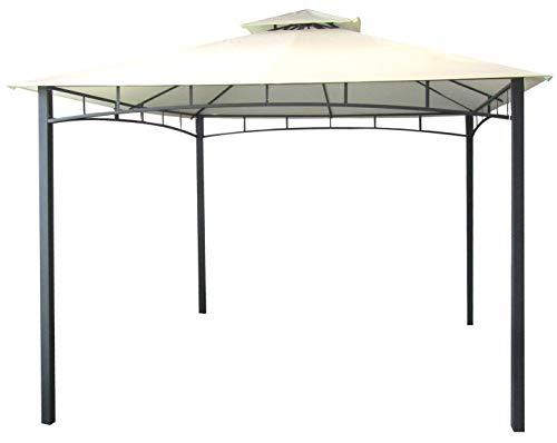 Savino Fiorenzo Gazebo da Giardino 3x3 Metri con Telo Impermeabile Ecrù in Metallo e Ferro Nero Satinato antiruggine e Doppio Tetto Anti Vento Pali portanti 6x6 cm