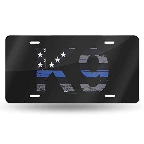 JUCHen Police K9 Thin Blue Line Printed Auto Truck Car Motorcycle Front Tag Metal License Plate Cover Frame Cover 6'x12'