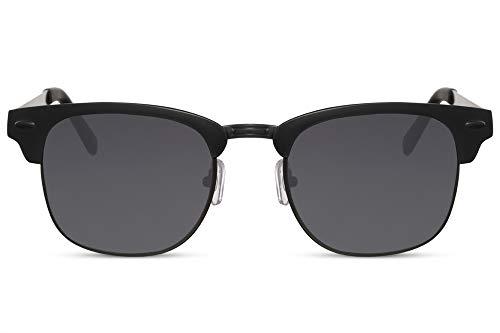 Cheapass Occhiali da Sole Neri Montatura Rettangolare Metallica UV400 Protetti