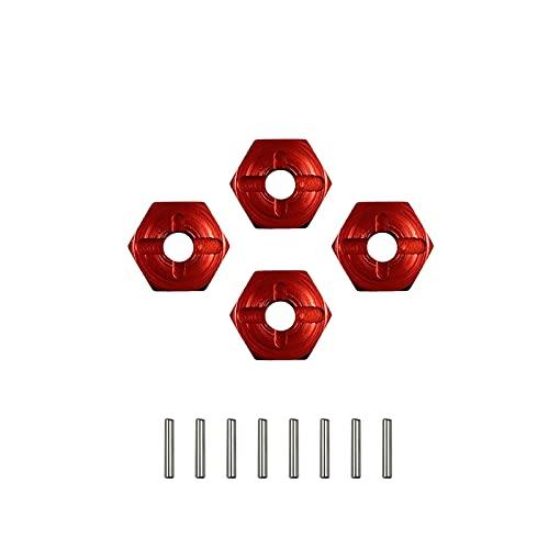 Farleshop 4PCS Hexagonal Combiner Rueda Rix Hex 7MM ACTUALIZACIÓN 12 MM Adaptador de Metal para 1/18 W-L-T-O-Y-S A949 A959 A969 A979 K929 1/10 Neumáticos (Color : Red 1set)