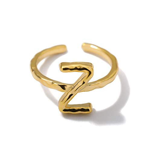 DGSDFGAH Ring For Women Z Stainless Steel Az Letter Ring Metal Adjustable Open Ring Initials Name Letter Jewelry Female Party Gift Creative Finger Ring Party