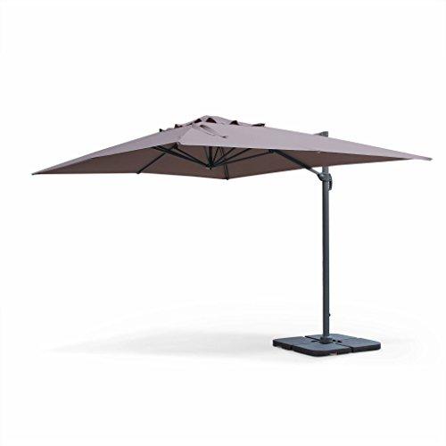Alice's Garden Saint Jean de Luz: Rectangular cantilever parasol, 3x4m, beige-brown