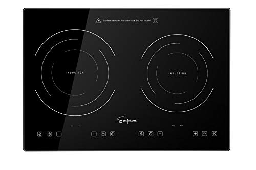 Empava Electric Stove Induction Cooktop Horizontal with 2 Burners Vitro Ceramic Smooth Surface 120V, 12 Inch, Black Tempered Glass