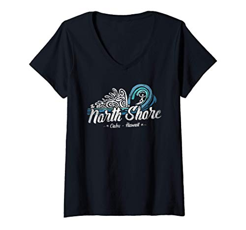 Mujer Vintage North Shore, Sunset Beach, Oleoducto, Oahu, Hawaii Camiseta Cuello V