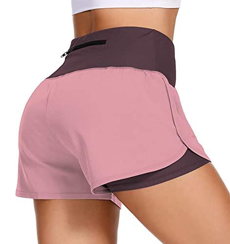 uideazone Damen Sporthose Kurz 2 In 1,Zweilagige Laufshorts Damen,Damen Kurze Sportshorts Fitness Yoga Hotpants Shorts Hot Pants mit Taschen Rosa