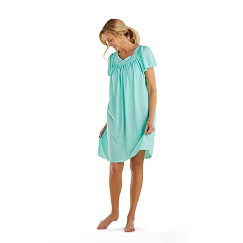 Miss Elaine Women's Short Tricot Gown, Aquamarine, Small