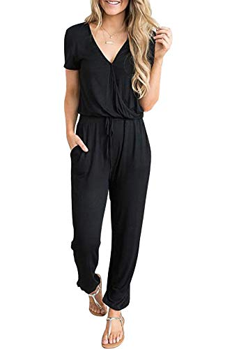PRETTYGARDEN Women's Summer Casual Deep V Neck Short Sleeve Wrap Drawstring Waist Jumpsuit Romper with Pockets Black