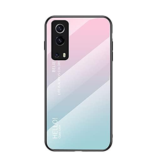 TIANJI Funda para Vivo Y72 5G/Vivo iQOO Z3 Cubierta de Cristal Degradado de Color Caja de Vidrio Templado Case Cover para Vivo Y72 5G/Vivo iQOO Z3 (Rosa Azul)