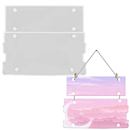 HQdeal Moldes Resina Epoxi de placa de la puerta, 2 in 1 Bienvenido moldes para resina manualidades, Decoración de la puerta de la tienda de oficina en casa