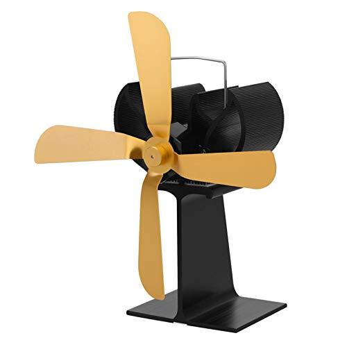 XIAOKUKU Selbstbetriebener Protokollbrenner-Fan, 4-Blade-stummes Kamin-Gebläse-Wärmestromversorgung, verteilt die hölzerne brennende Hitze des Kamins,Gold