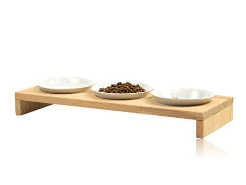 FINDAL - Katzennapf 3er Set aus Holz Buche mit 3 weißen Keramik Schüsseln, erhöhter Futternapf für Katze & Hund, Fressnapf spülmaschinenfest & modern für Trockenfutter, Nassfutter & Wasser für Katzen
