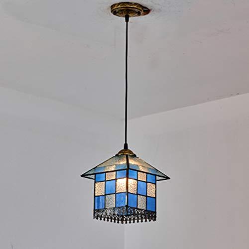Kroonluchter in Tiffany-stijl, retrolamp, van roestvrij staal, lampenkap, mini-mediterran, landschapsverlichting, voor slaapkamer, hal, café, bar