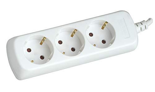 SILVER ELECTRONICS 9623 Regleta Tomas sin Interruptor, blanco, 3 enchufes / 1,5 metros