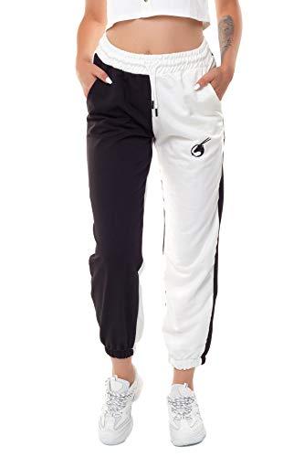 Bongual Jogginghose Trainingshose Relaxhose Damen Jogger Sweathose zweifarbig Baumwollmix (Schwarz-Ecru, 36)