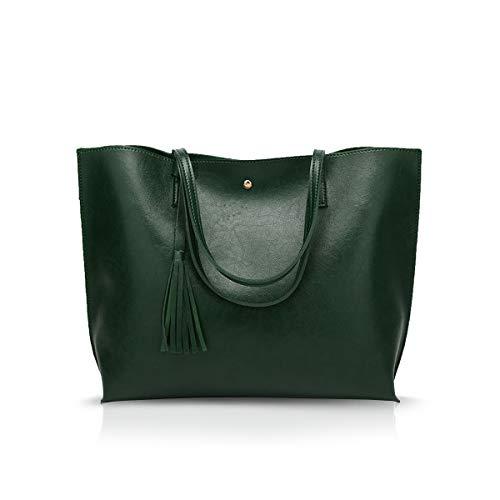 NICOLE&DORIS Borsa a mano donna Borsa Tote in pelle PU borsa a tracolla moda Borsa a Spalla grande Verde scuro