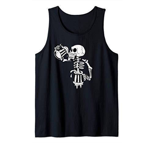 Schädel trinkt viel endloses Bier lustiges Skelett Tank Top