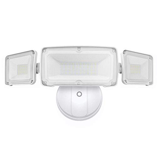 LEPOWER 3500LM Dusk to Dawn LED Security Lights Outdoor, 35W Super Bright Flood Light Outdoor with Photocell, 5500K White Light, Full Metal, IP65 Waterproof 3 Head Exterior Light for Garage, Patio