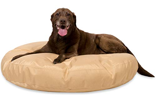 K9 Ballistics Round Dog Bed Large Nearly Indestructible & Chew Resistant, Waterproof Washable Tough Nesting Pillow for Chewing Puppy - for Large Dogs 42', Tan