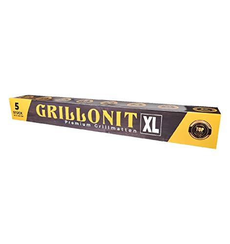 GRILLONIT Premium Backmatte für Ofen & BBQ Grillmatte - 5er Set 50x40cm - Extra Stark 0,3mm - bis 300°C - nachhaltige Antihaft Dauerbackfolie für alle Arten von Grills & Backofen Gas Holzkohle Elektro