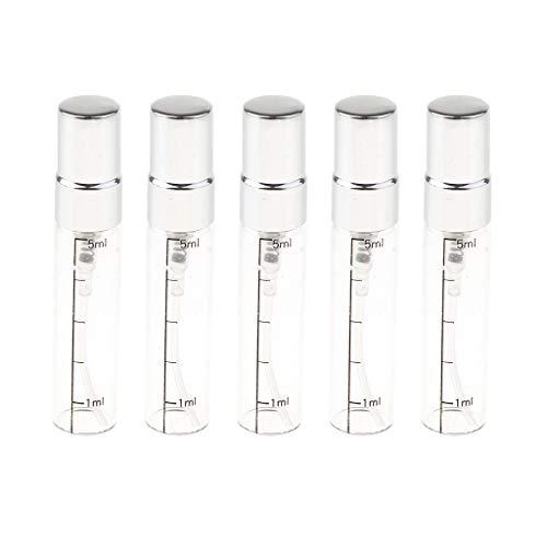 B Blesiya 5pcs Mini Bouteilles parfum Liquide Bouteille Réutilisable Vide Parfum Verre Fioles en Verre Vaporisateur de Poche - Argent