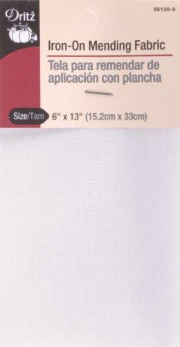 Dritz 55120-9 Mending Fabric, Iron-On, White, 6 x 13-Inch