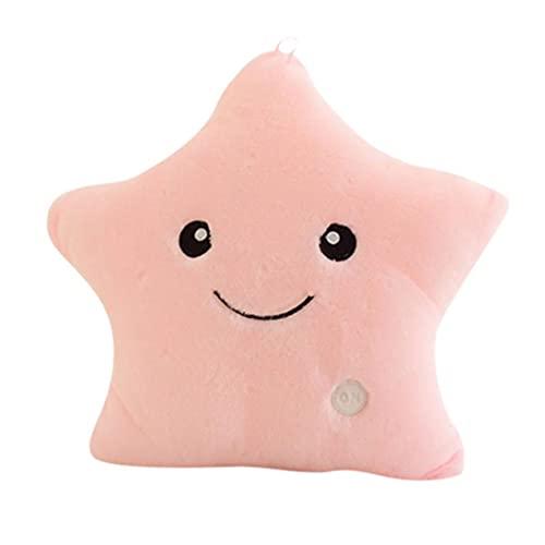 Almohada con luz LED con forma de estrella, luminosa, suave, parpadeante, maravillosa, para niños, peluches, Navidad, Halloween, fiestas, decoración
