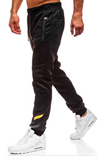 Lantch Herren Hosen Hose Sporthose Trainingshose Cargo Pants Jogginghose Sweatpants Jogger Mode Freizeit Laufen Streifen Enger Beinabschluss, L, Schwarz