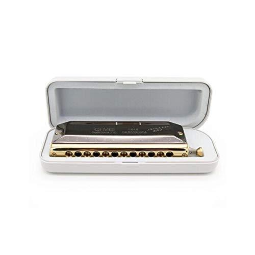 KMDSM Armónica Armónica cromática profesional de 12 hoyos de alta gama, Key C, Gold Black, Adecuado for principiantes Práctica de autoaprendizaje, Actuaciones avanzadas, Creación, La mejor opción for