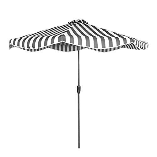Sombrilla Terraza Parasol Jardin Rayas Blancas Negras Sombrilla de Patio 2,7 M / 9 Pies Jardín Moderno Paraguas de Mesa con 8 Varillas de Acero y Manivela, Exterior Protección UV Terraza de La Piscina