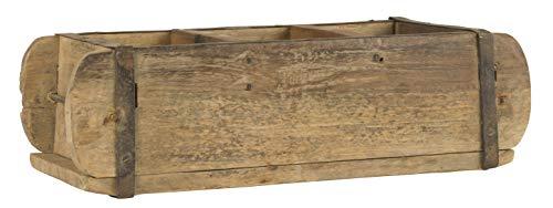 Alte Ziegelform 30x14x9 cm - Dreikammer - Vintage Holzkiste mit Metallbeschlägen - Echte, benutzte Form aus Indien aus Altholz gefertigt - Jedes Stück ein Unikat