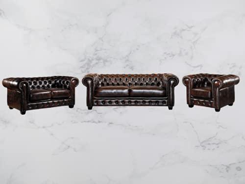 Conjunto de sofás Chesterfield de 3 + 2 + 1 de fabricación artesanal, piel de búfalo auténtica