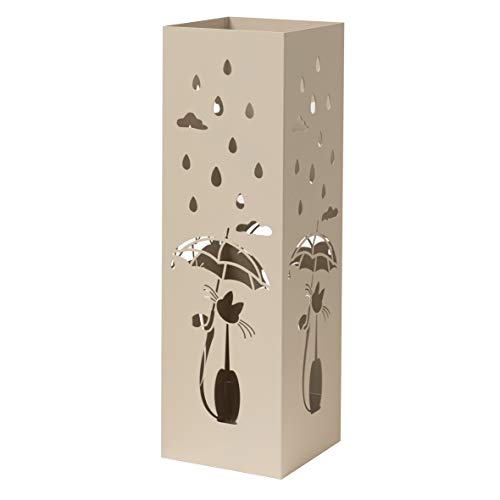 Baroni Home Portaombrelli Design Moderno Porta Ombrelli in Metallo Tortora con Gatto con 2 Gancini e Vaschetta Scolapioggia Rimovibile 15,5X15,5X49 cm