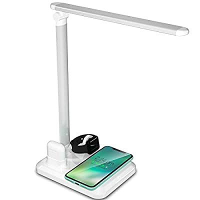4 in 1 Wireless Charger LED Desk Lamp with USB Charging Port, Fast Wireless Charging Station Compatible with Apple Watch Airpods iPhone Xs Max/XR/X/8 Plus, Samsung S10+/S9+/S8/S7, (White)