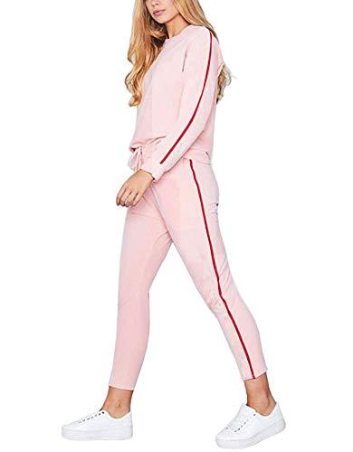 Tomwell Damen Hausanzug Jogginganzug Trainingsanzüge Streetwear Langarm Rundhals Hoodie Sweatshirt (Pullover+ Hose) Rosa EU XS