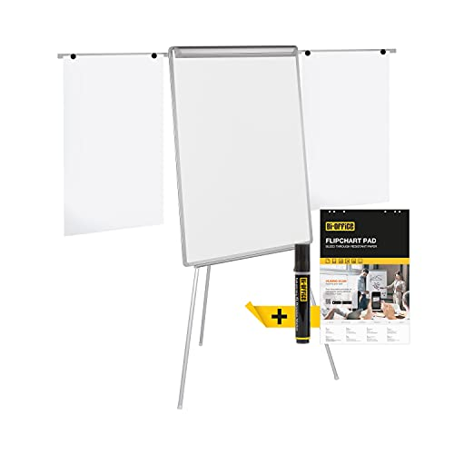 Bi-Office Easy - Pizarra Magnética con Caballete de Trípode, con brazos extensibles, marco gris, Pizarra A1-60 x 85 cm, para rotafolios, suministrado con Bloc de papel y Rotulador
