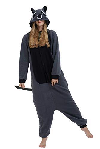 DELEY Unisexo Adulto Caliente Animal Pijamas Cosplay Disfraz Homewear Mamelucos Ropa De Dormir Mapache Gris M