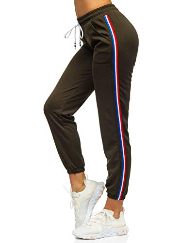 BOLF Damen Jogginghose Sporthose Trainingshose Freizeithose Sweatpants Jogger Sweathose Fitnesshose Jogpants Baumwolle Slim Fit J.Style YW01020 Khaki S [F6F]