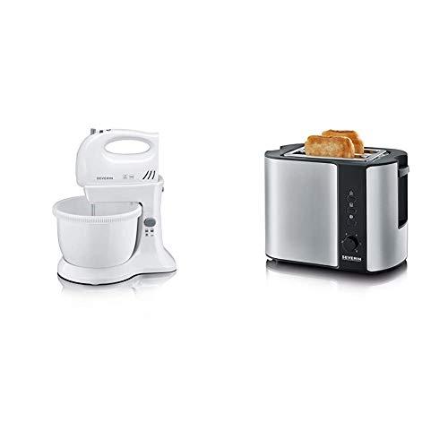 SEVERIN Handmixer-Set, ca. 300 W, Inkl. Tischständer und 3 L Rührschüssel, HM 3810, Weiß/Grau & Automatik-Toaster, Inkl. Brötchen-Röstaufsatz, 2 Röstkammern, 800 W, AT 2589, Edelstahl/Schwarz