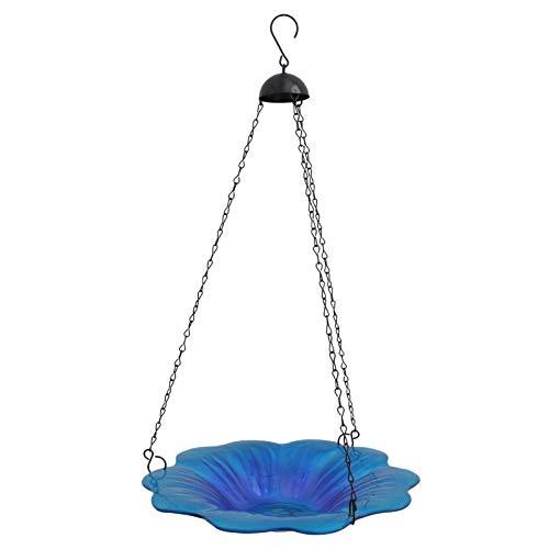BESTonZON Vogeltränke Vogel Wasserschale Wildvogel Tränke Vogelbecken Vogelbad Witterungsbeständig zum Hängen Gartendeko Blau