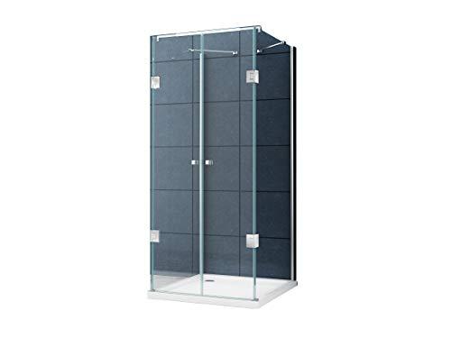 U Form Duschkabine Dusche Benito 90 x 75 x 195cm / 8 mm / ohne Duschtasse