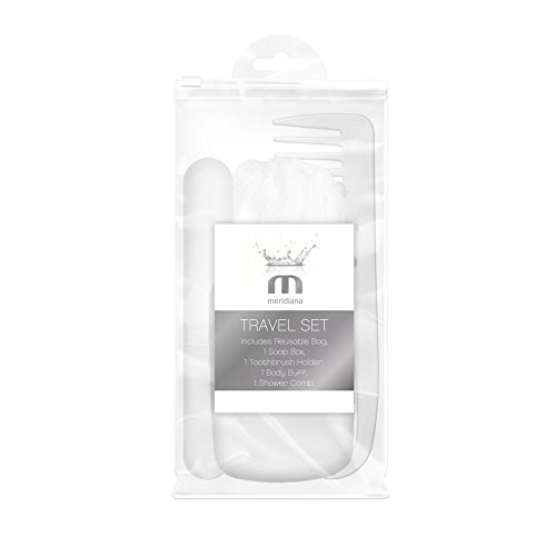 Meridiana Trousse de toilette de voyage avec ensemble de douche réutilisable Peigne/corps Buff/boîte à savon/support de brosse à dents/sac