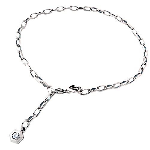 [エムズコレクション] M's collection [特 別 仕 様] 9月:合成サファイア チャーム シルバー 925 アンクレット ブレスレット メンズ シンプル 六角形