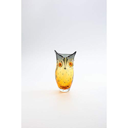 Hand-blown Tabletop Glass Owl Vase