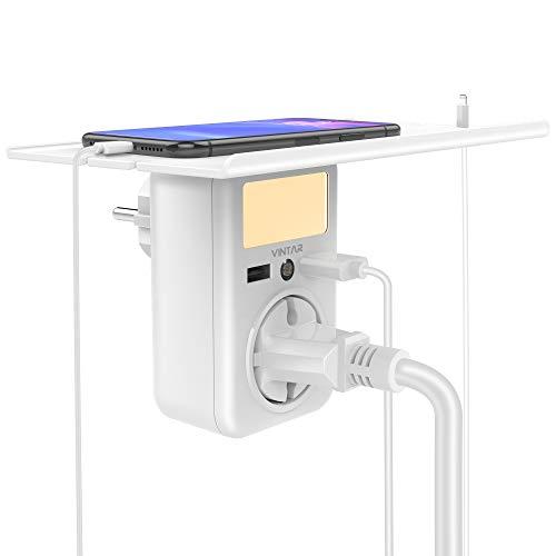 VINTAR USB Steckdose Regal,Stecker mit USB Anschluss(4000 W,2.4 A),Steckdosenadapter,Nachtlicht Steckdose Dämmerungssensor, Mehrfachsteckdose usb für Smart Phone/Lautsprecher/Router