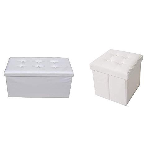 Rebecca Mobili Puff Contenitore poggiapiedi Moderno, Seduta Sedia Bianca & Mobili Pouf contenitore in ecopelle, puffo, puff cubo, poggiapiedi bianco
