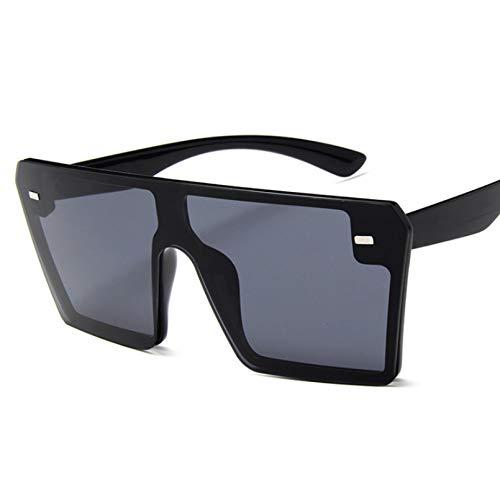 SUIBIAN Gafas de Sol cuadradas de Gran tamaño Moda para Mujer Parte Superior Plana Rojo Negro Lente Transparente Una Pieza Hombres Espejo de Sombra