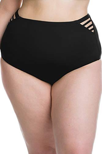 Becca Etc by Rebecca Virtue Women's Plus Size Strappy Side High Waist Bikini Bottom Black 0X