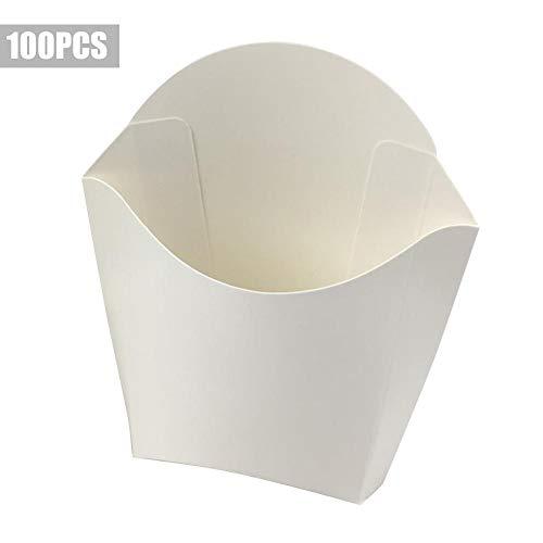 100 Stk Pommes-Frites-Verpackungsschachtel Weiße Pommes-Frites-Schachteln Gebratene Hähnchen-Burger-Verpackung Papier-Schachteln Ölbeständige Verpackungsschachteln Verpackungskarton Fast-Food-Burger